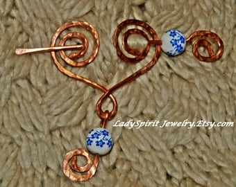 Copperwork Celtic Heart Shawl or Tartan Pin Accented in Blue and White Porcelain
