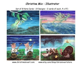 Christine Mix Note Cards Set of 8