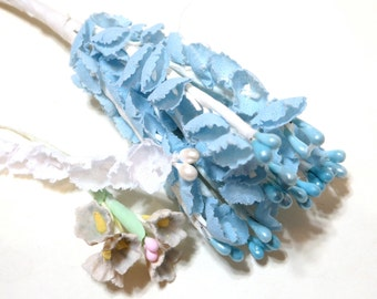 Fabric Millinery Flowers - Shabby Chic - Pastel Blue Yellow and white - Wire bouquets - Vintage