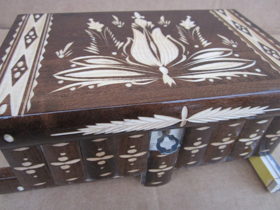 Large Hungarian Puzzle Wooden Brown Jewelry Box w/ Hidden Compartment, Lock & Key