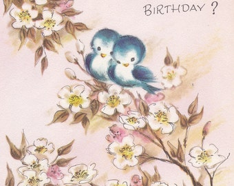 Havin' Another Birthday- 1950s Vintage Birthday Card- Don't Be Blue- Love Birds- Bluebirds- Paper Ephemera- Unused W/ Envelope