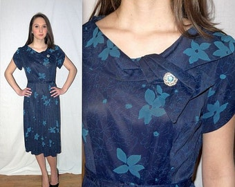 Moonglow .... Vintage 50s day dress / 1950s blue floral / tulip sleeve belted / mid century  ... S M / bust 38