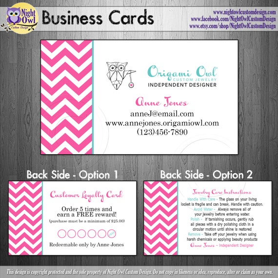 Origami owl o2 consultant or director by nightowlcustomdesign for Owl business cards