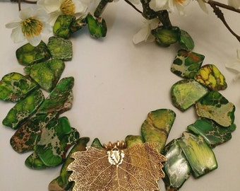Green Jasper Gems  and Goldplated Leaf Necklace XL