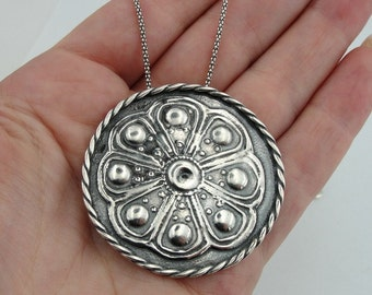 Unique Handcrafted Sterling Silver flower pendant (h 400) - SALE