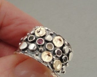 Israel Handmade Gorgeous Art Gold Silver Pearl Ring 7.5 (I r487)