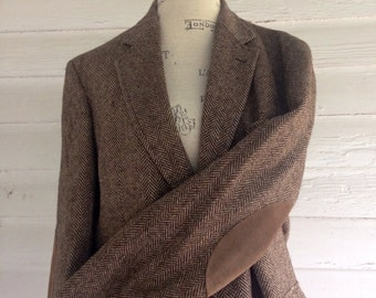 Vintage HERRINGBONE Suit Jacket w Elbow Patches - Ivory + Brown Professor's Jacket w Latte-Colored Suede Elbow Patches