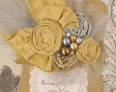 Gold & Silver Couture rosette feather headband/ hairclip