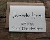 Rustic Wedding Thank You Cards with Envelopes, The New Mr. and Mrs., Bride and Groom Name, New Last Name, Set of 10