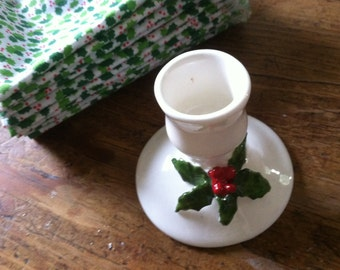 Holly Leaf Candlestick White Green Holly Red Berries Vintage