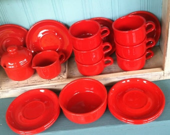 Red Cups Saucers Creamer Sugar Set of 6 Waechtersbach West Germany