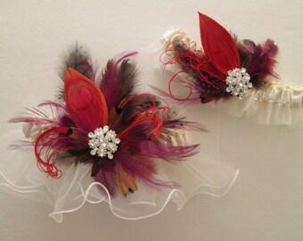 Cranberry Peacock Wedding Garter Set, Ivory Bridal Garters, Crystals, Purple / Brown Feathers, Rustic, Fall Harvest, Wine Vineyard Weddings