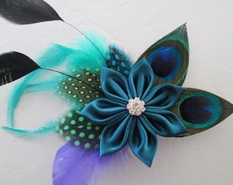 PEACOCK Wedding Hair Fascinator, Teal Wedding Hair Piece, Teal Bridal Kanzashi Flower, Hair Accessory, Birdcage, Steampunk Wedding