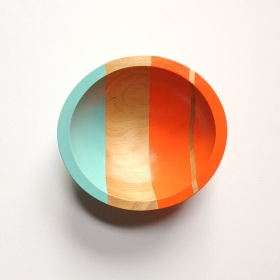 "Modern Neon Hardwood 7"" Salad Bowl, Electric Orange"