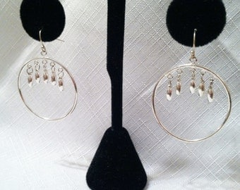 Mod Modern Sterling Silver 925 Hoop Dangle Earrings