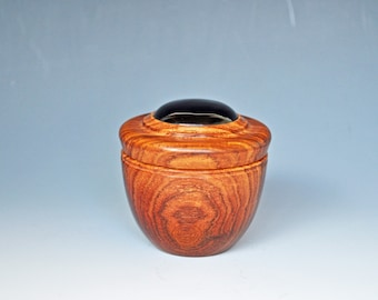 Woodturned Box in Colobolo withOnyx Insert (price reduction)