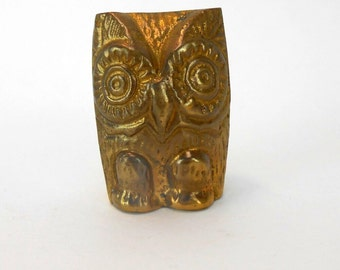Vintage brass owl figurine India small brass owl stylized owl figurine primitive owl primitive owl figural owl feng shui power