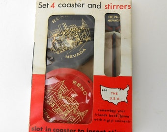 vintage Reno Nevada souvenir coaster and stirrer set red and black 1960's new old stock red and black and gold reno advertising