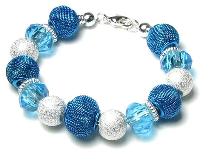 Turquoise Blue Glass & Metal Mesh Large Hole Bead Silver Snake Chain Bracelet For Interchangeable Chunky Add A Bead Jewelry Design For Women