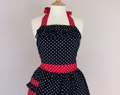 Retro apron with ruffles, white polka dots on a black fabric, 1950s inspired, fully lined.