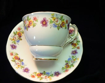 Royal Stafford Bone China made in England Floral Cup and Saucer