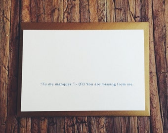 Tu me manques - Miss You - French - Gold Envelope