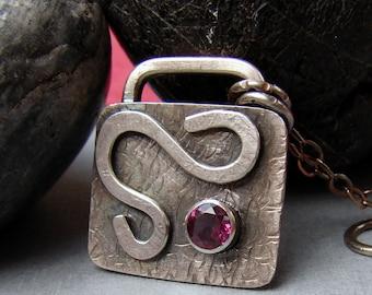 Sterling Silver Garnet Necklace, Rhodolite Garnet Sterling Silver Padlock Pendant Necklace, Rustic Silver Metalwork Gemstone Necklace