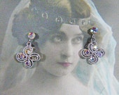 Vintage Silver and Aurora Borealis Flower Clip Earrings - V-EAR-617 - Aurora Borealis Earrings