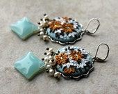 Pretty Polymer Clay Floral Applique Earrings in Mint, Gold, White and Brown with Natural Pearls & Opal Czech Glass