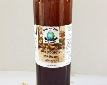 8 oz Natural Shampoo. Sweet Almond n' Oat Protein. SLS Sulfate Free. Very Gentle & Color Safe, Vegan