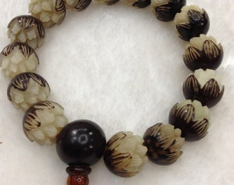 Yoga Mala Bracelet Necklace 11mm Bodhi Root 16 Beads Bracelet Carved Lotus   Buddha Bodhi Prayer Tibetan Bead- 301-95