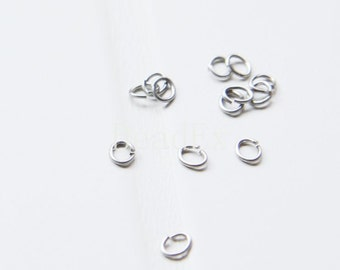 100pcs / Matte White Gold  / Jump Rings / Brass Base / Oval Jump Ring / Ring / 5*4mm  (C319//I18)