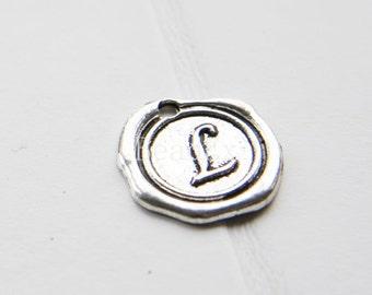 12pcs / Wax Seal Letter / Oxidized Silver Tone / Base Metal / Charm / Alphabet L (YA15706//E311)