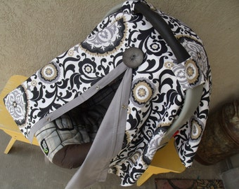 Carseat Canopy Black Grey Medallions Cover