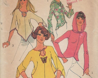 Vintage 70's Simplicity Pull Over Hood Top Size 8 Pattern