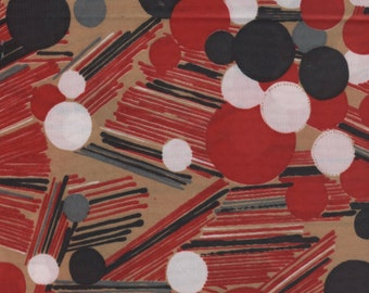 1 1/2 yards - 60's Vintage Red Abstract -Polyester Knit Fabric