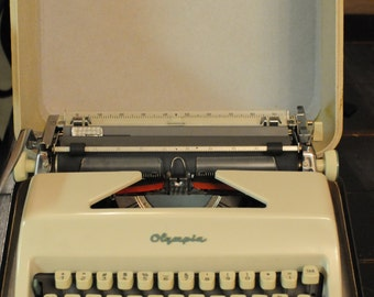 Vintage Olympia Typewriter/1960s/ Made in Germany/Cursive Type/Script Type/Mad Men Era