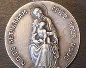 Our Lady of BETHARRAM & Michel GARICOITS Vintage Catholic Religious Medal Pendant on 18 inch sterling rolo chain