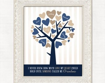 Christmas Gift for Grandma, Personalized Family Tree, Navy Blue and Tan, Heart tree with names, Gift For Mom and Dad, Grandkids Names