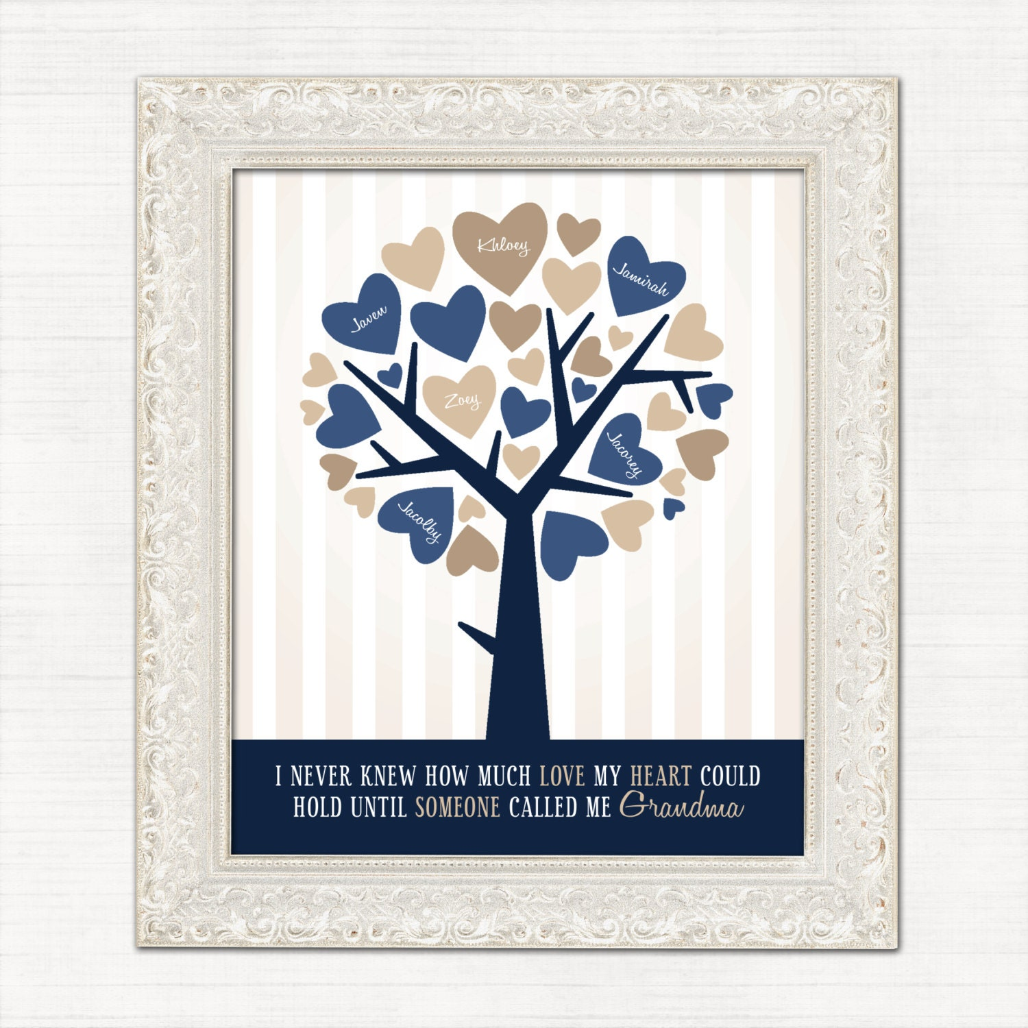 Christmas Gift for Grandma Personalized Family Tree Navy