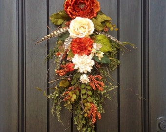 Fall Door Wreath Teardrop Swag, Orange Berry Branches, Orange Cream Wispy Twig Swag Vertical Decor.. Use all Year Round Indoor/Outdoor Swag