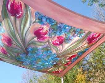 Silk Chuppah with Tulips and Violets and a  Mauve/Clay Colored Border Forming a Painterly Mandala