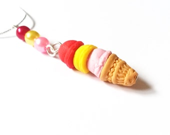 Ice Cream Necklace ( mini food jewelry food jewellery food necklace polymer clay food pendant miniature ice cream kawaii jewelry )
