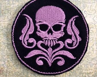Gothic Lolita Damask Skull PATCH - lavender  Round