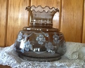 Glass Shade Quiozel Parlor Lamp Charcoal White Flowers Gorgeous Vintage Lighting
