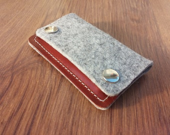 Card holder Credit card holder wallet felt wallet purse card wallet - Light grey felt and dark brown leather