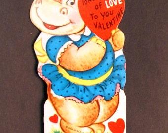 1960s Vintage Hippo Valentine, unused