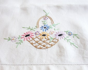 Hand Embroidered Huck Towel