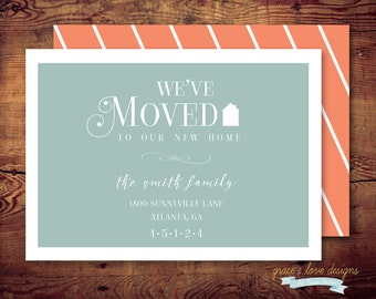 Printable We've Moved Announcements - New Home - moving (digital file) DIY Printing at home or your choice of printer