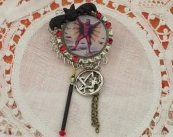 El Diablo - DAY of the DEAD - Brooch - The Devil -  Silver Pentagrams with Mermaids -   Bottle Cap Art PiN